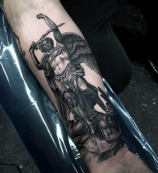 Creative St Micheal Tattoo Male Design Ideas