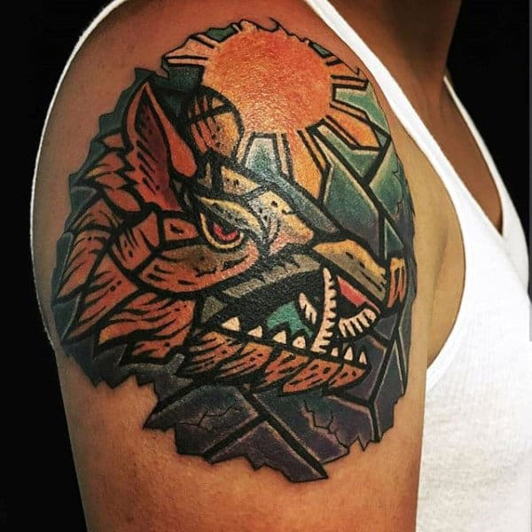 Creative Stained Glass Hog Tattoo With Rising Sun On Guys Upper Arm