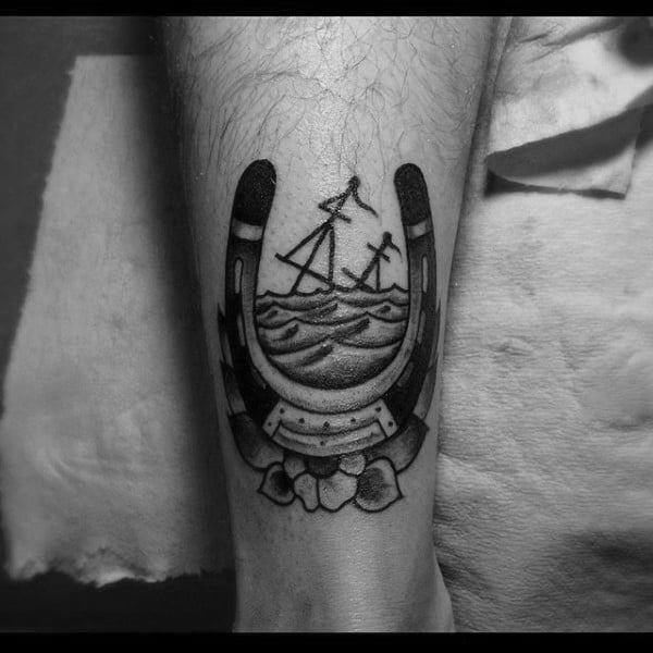 Creative Sunken Ship Horseshoe Mens Lower Leg Tattoos