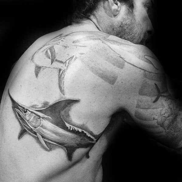 Creative Swimming Swordfish Back Tattoos For Men