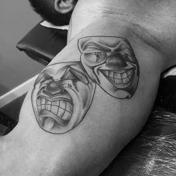 Creative Theatre Drama Mask Tattoos For Men On Inner Arm Bicep