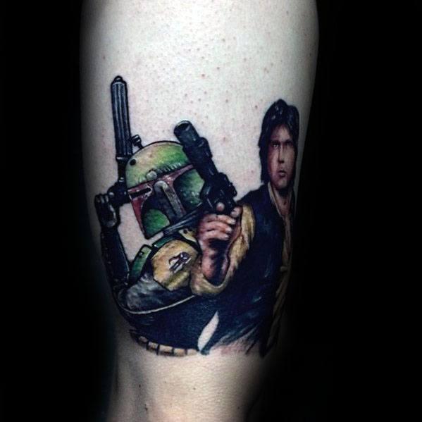 Creative Thigh Han Solo Tattoos For Men