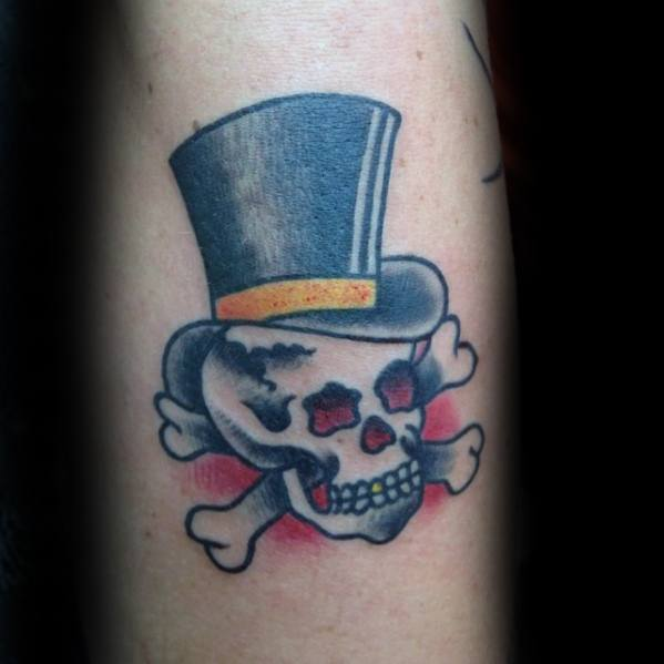 Creative Top Hat Skull And Crossbones Forearm Traditional Tattoos For Men
