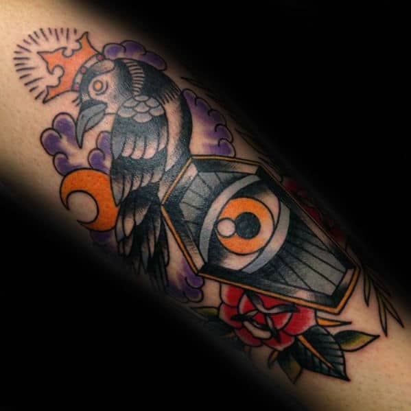 Creative Traditional Coffin And Eye Tattoo On Gentleman