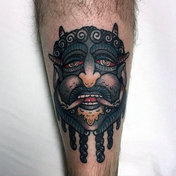 Creative Traditional Devil Male Leg Tattoos
