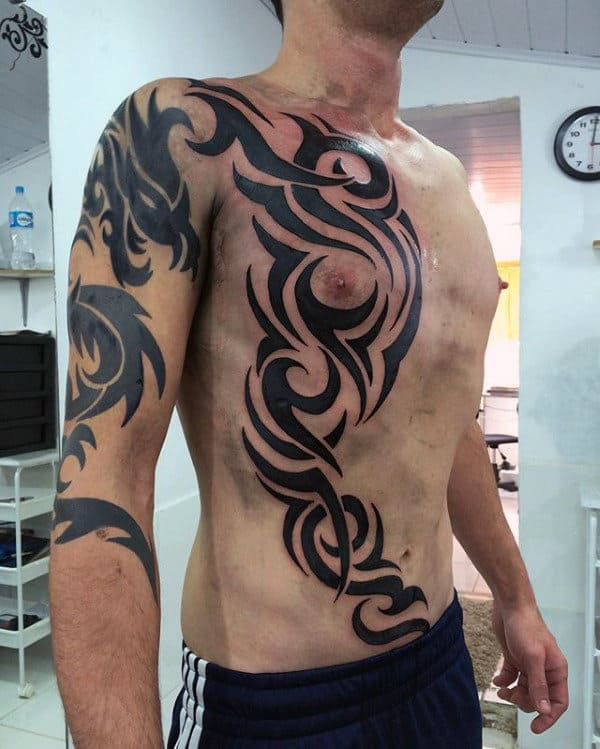 628b687d9 Cool Ribs Tribal Male Traditional Black Ink Tattoo Design Ideas. Creative  Traditional Guys Tribal Rib Cage Side Tattoos