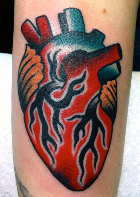 Creative Traditional Heart Amle Forearm Tattoos