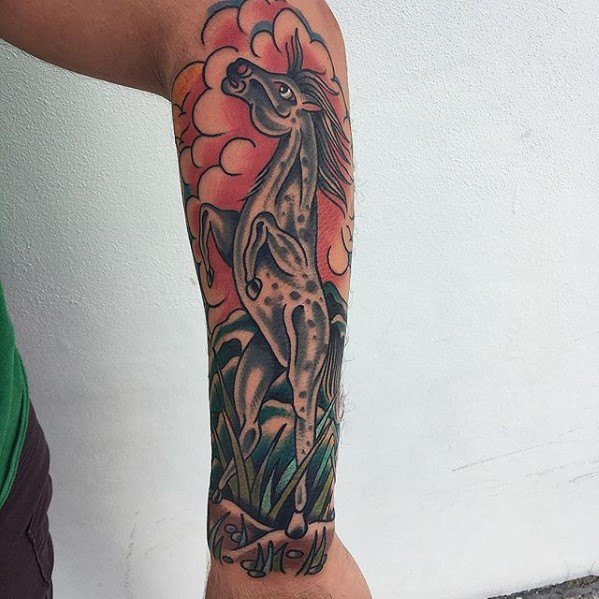 Creative Traditional Horse Tattoos For Men