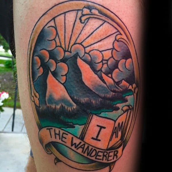 Creative Traditional Mountain Tattoos For Men