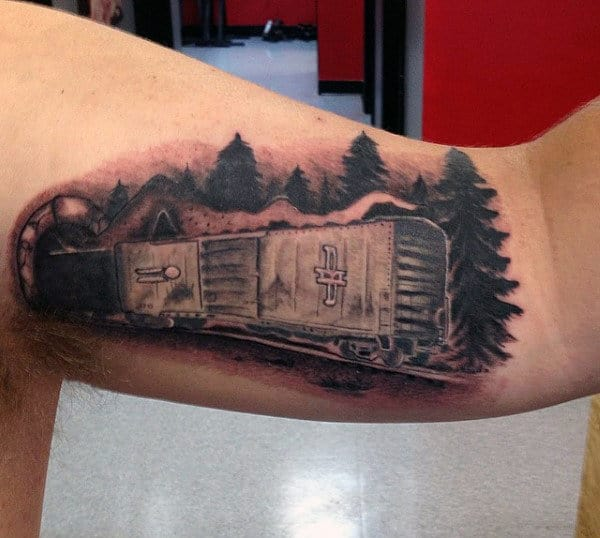 Creative Train Tattoo Art For Guys On Inner Bicep