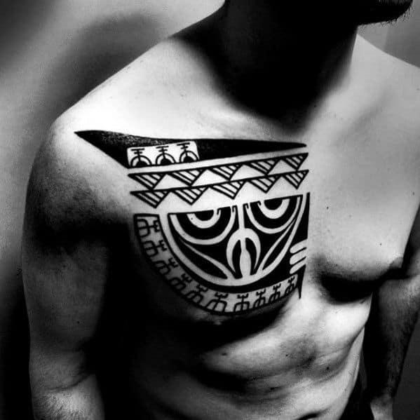 Creative Tribal Bird Owl Head Mens Chest Tattoo