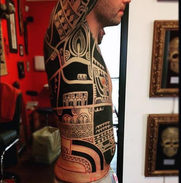 Creative Tribal Chest Tattoos For Men