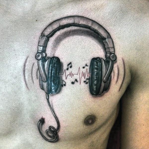 Creative Upper Chest Heartbeat Headphones Tattoos For Men