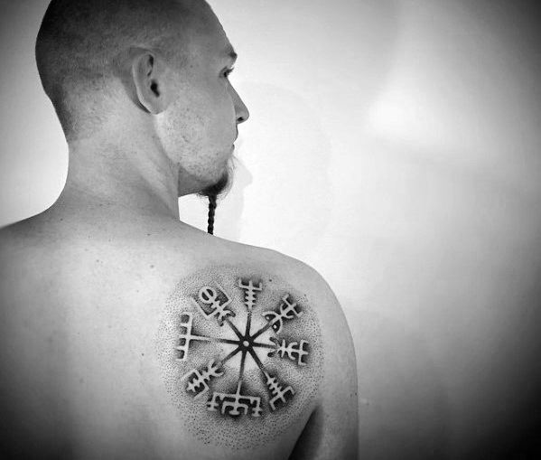 Creative Viking Compass Male Upper Back Of Shoulder Tattoo