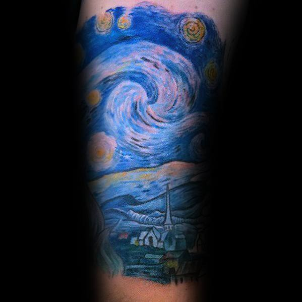 Creative Vincent Van Gogh Male Arm Tattoo Designs