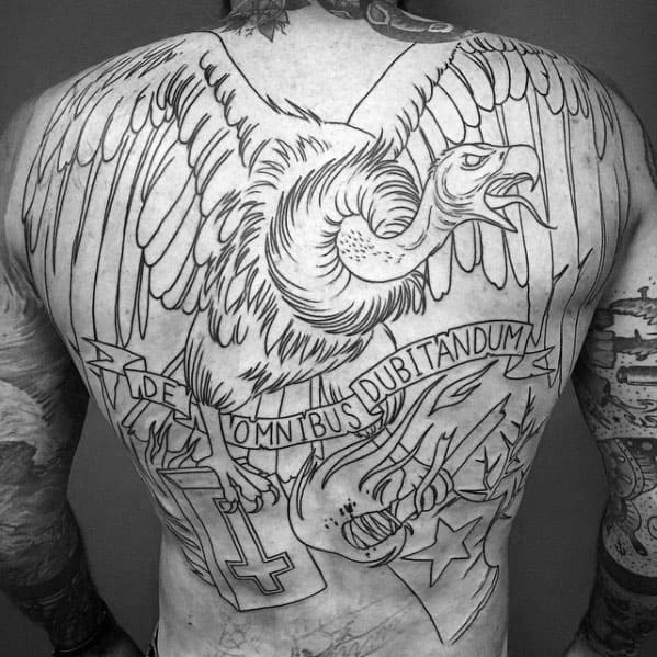 Creative Vulture Black Ink Outline Mens Full Back Tattoo Ideas