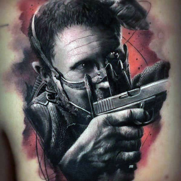 Creative Watercolor Chest Mad Max Tattoos For Men