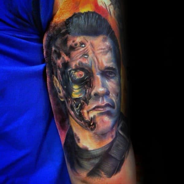 Creative Watercolor Guys Terminator Arm Tattoo Inspiration