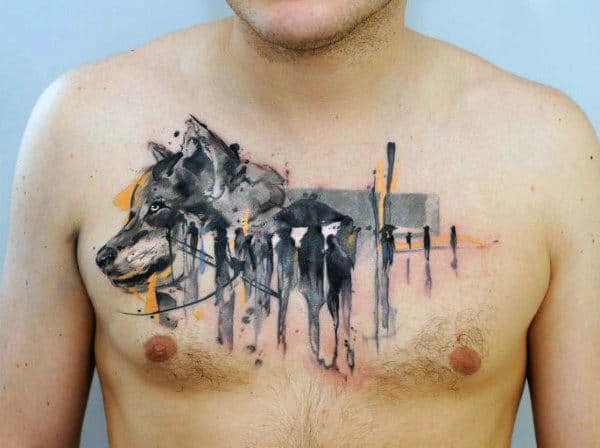 Creative Watercolor Male Wolf Chest Tattoo Inspiration