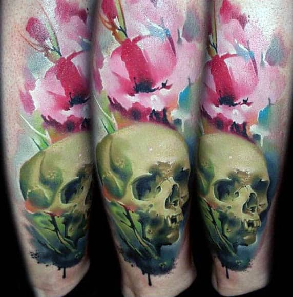Creative Watercolor Skull With Poppy Mens Lower Leg Tattoos