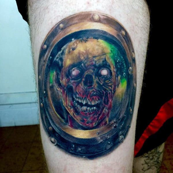 Creative Watercolor Zombie Under Water Looking Through Window Mens Leg Thigh Tattoo
