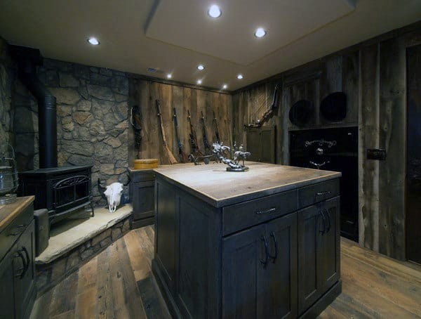 Creative Wooden Gun Room With Fireplace