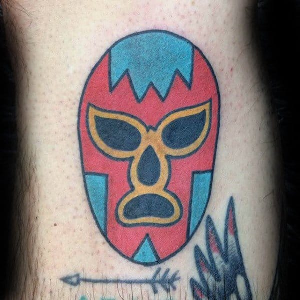 Creative Wrestling Mask Leg Tattoos For Men