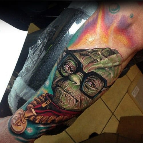 Creative Yoda Male Inner Arm Tattoos