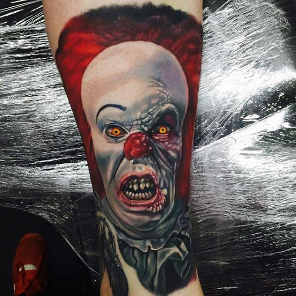 Creepy Clown Mens Forearm Sleeve Tattoos