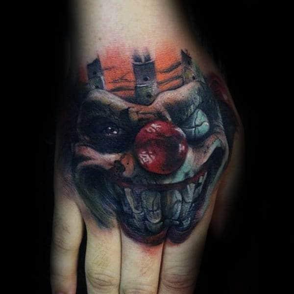 e73335008 75 Clown Tattoos For Men - Comic Performer Design Ideas
