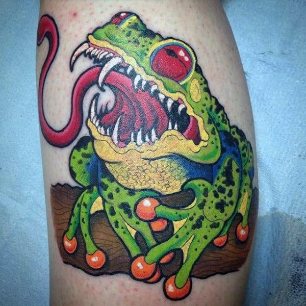 Creepy Frog Mens Leg Tattoo Deisgns