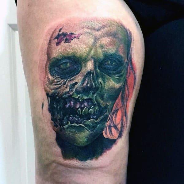 Creepy Zombie Green Ink Tattoo For Mens Leg Thigh