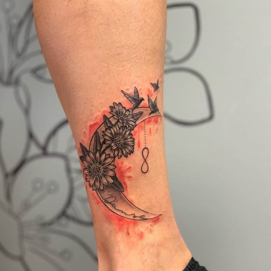 Crescent Moon Black Line Flowers Infinity Tattoo