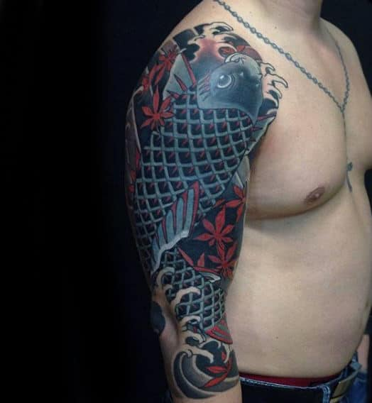 Criss Cross Fish Japanese Sleeve Tattoo For Guys