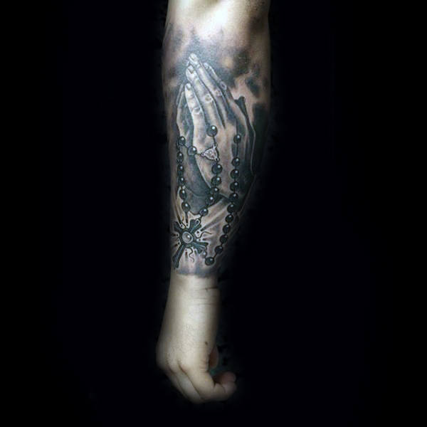 Cross And Rosary Tattoos For Males Forearem Sleeve