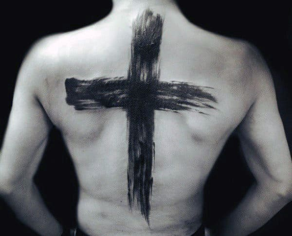 Cross Brush Stroke Mens Back Tattoos