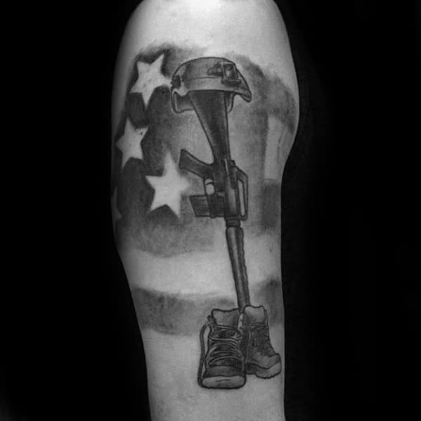 Cross Fallen Soldier Male Arm Tattoo With Negative Space American Flag