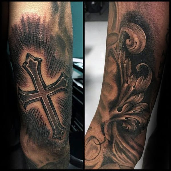 Cross Filigree Mens Outer Forearm Tattoo Designs