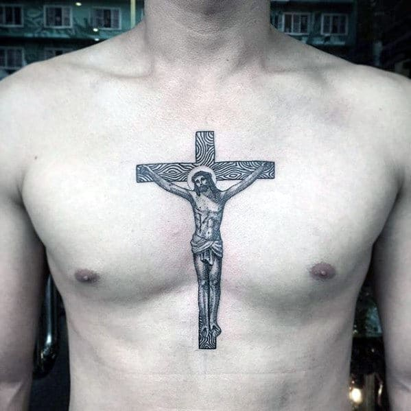 Cross In Middle Of Chest Guys Jesus Tattoo Ideas