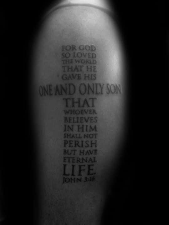 Cross John 316 Bible Verse Mens Religious Tattoo On Arm