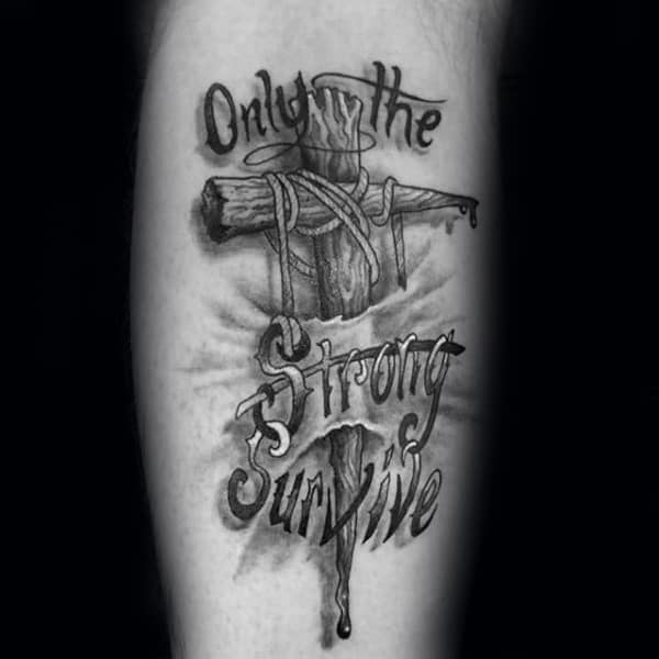 Cross Only The Strong Survive Mens Forearm Tattoo