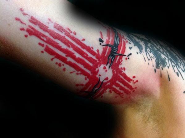 Cross Paint Splatter Inner Arm Zia Male Tattoo Designs