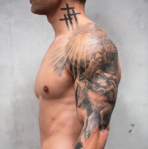 Cross Side Of Neck Tattoo