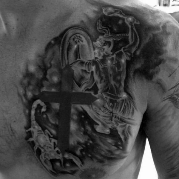 Cross Stars Constellations Mens Upper Chest Tattoo