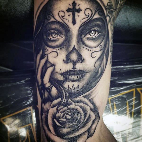 Cross Symbol On Forehead Day Of The Dead Lady Tattoo Mens Arms