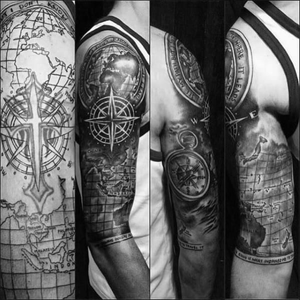 Cross Tattoo Cover Up Nautical Themed Sleeve Mens Tattoo Ideas