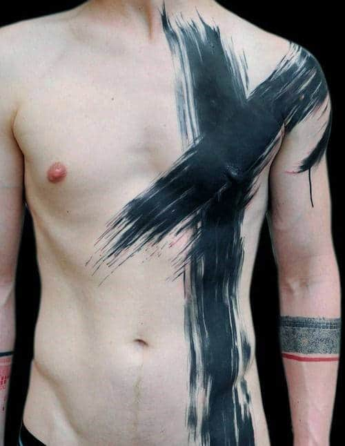 Chest Cross Tattoo Men