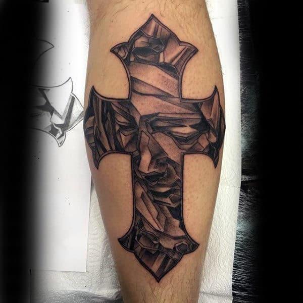 Cross Tattoo Mens Forearms Religious