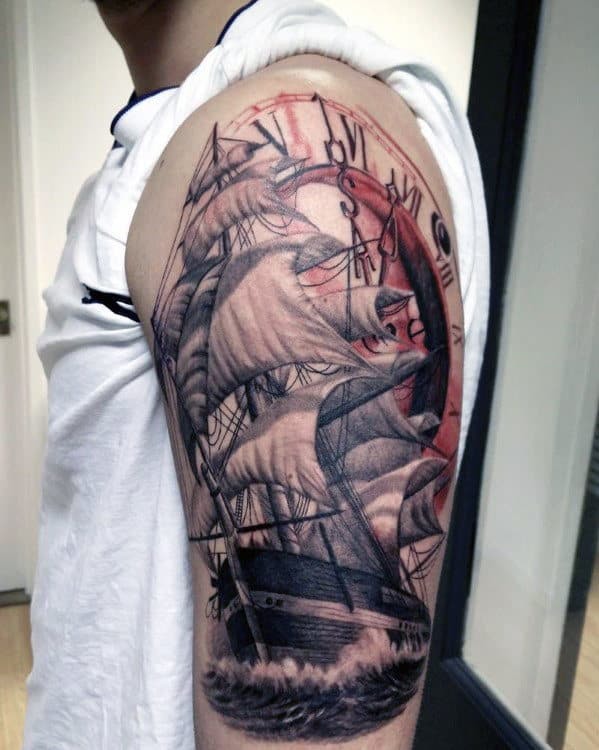 Ship Cross Tattoos For Men On Arm