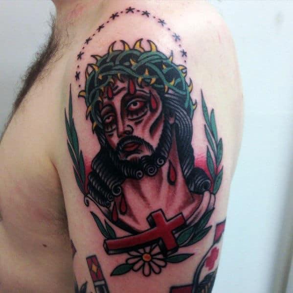Cross With Jesus Guys Traditional Arm Tattoo